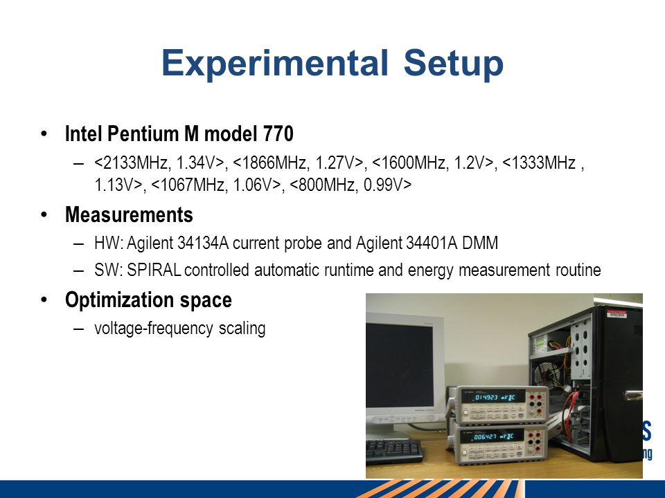 72 Experimental Setup Intel Pentium M model 770 –,,,,, Measurements – HW: Agilent 34134A current probe and Agilent 34401A DMM – SW: SPIRAL controlled automatic runtime and energy measurement routine Optimization space – voltage-frequency scaling