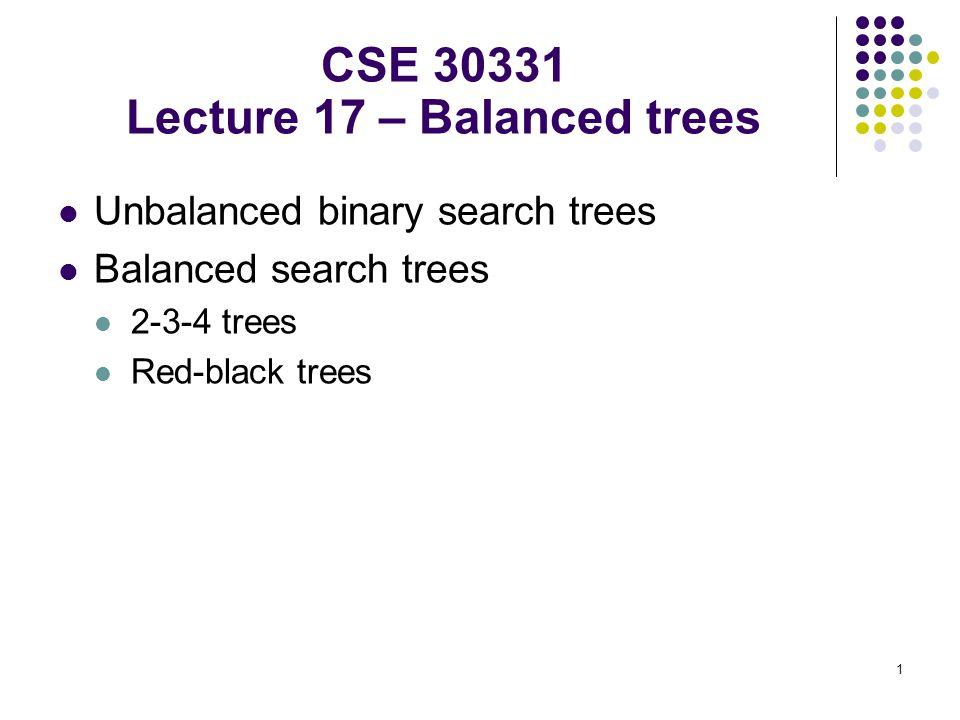 2 Unbalanced Binary Search Tree and balanced alternatives