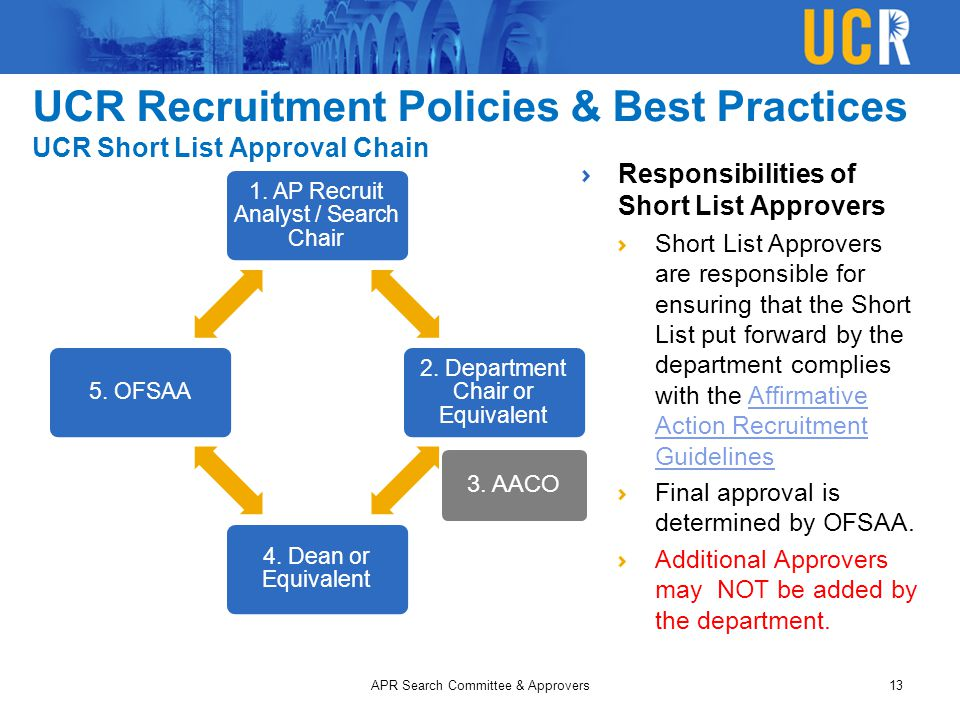 UCR Recruitment Policies & Best Practices UCR Short List Approval Chain 1. AP Recruit Analyst / Search Chair 2. Department Chair or Equivalent 4. Dean
