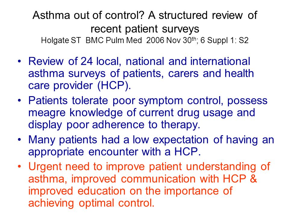 Asthma out of control? A structured review of recent patient surveys Holgate ST BMC Pulm Med 2006 Nov 30 th ; 6 Suppl 1: S2 Review of 24 local, nation