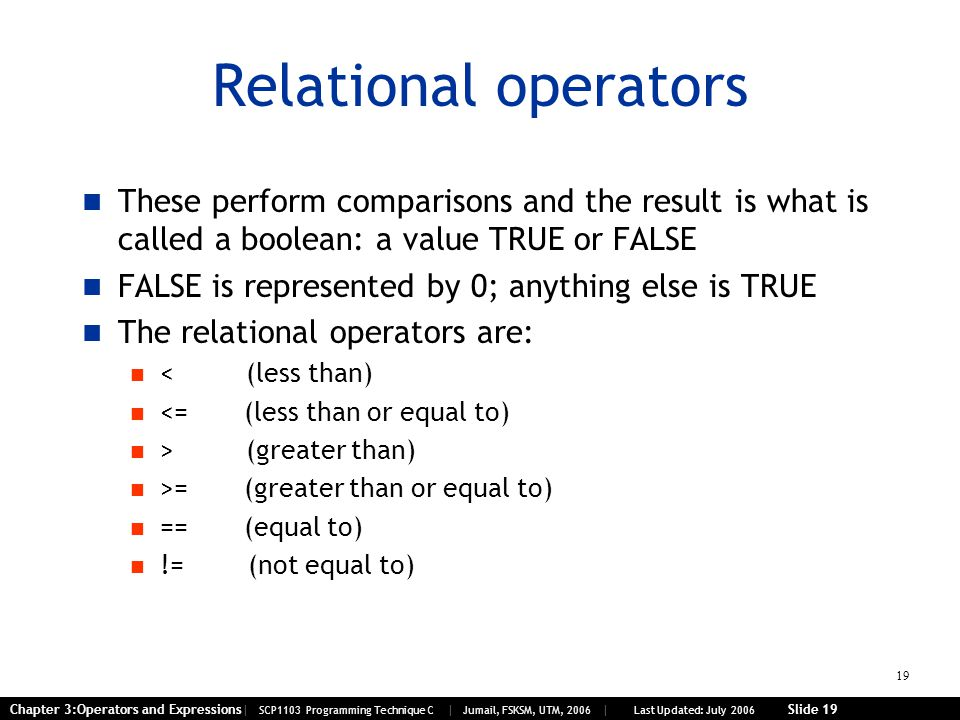 19 Chapter 3:Operators and Expressions| SCP1103 Programming Technique C | Jumail, FSKSM, UTM, 2006 | Last Updated: July 2006 Slide 19 Relational operators These perform comparisons and the result is what is called a boolean: a value TRUE or FALSE FALSE is represented by 0; anything else is TRUE The relational operators are: < (less than) <= (less than or equal to) > (greater than) >= (greater than or equal to) == (equal to) != (not equal to)