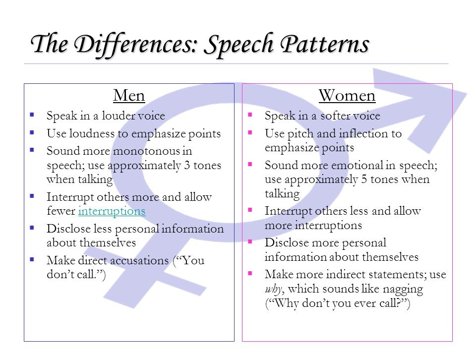 The Differences: Speech Patterns Men  Speak in a louder voice  Use loudness to emphasize points  Sound more monotonous in speech; use approximately 3 tones when talking  Interrupt others more and allow fewer interruptionsinterruptions  Disclose less personal information about themselves  Make direct accusations ( You don't call. ) Women  Speak in a softer voice  Use pitch and inflection to emphasize points  Sound more emotional in speech; use approximately 5 tones when talking  Interrupt others less and allow more interruptions  Disclose more personal information about themselves  Make more indirect statements; use why, which sounds like nagging ( Why don't you ever call )