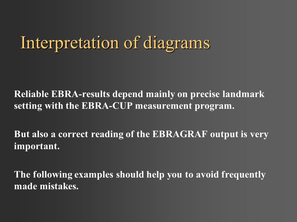 Interpretation of diagrams Reliable EBRA-results depend mainly on precise landmark setting with the EBRA-CUP measurement program. But also a correct r