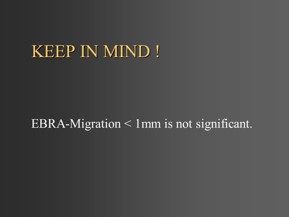 KEEP IN MIND ! EBRA-Migration < 1mm is not significant.