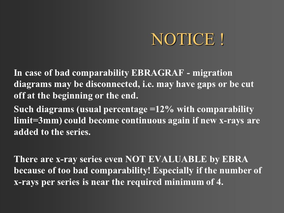 NOTICE . In case of bad comparability EBRAGRAF - migration diagrams may be disconnected, i.e.