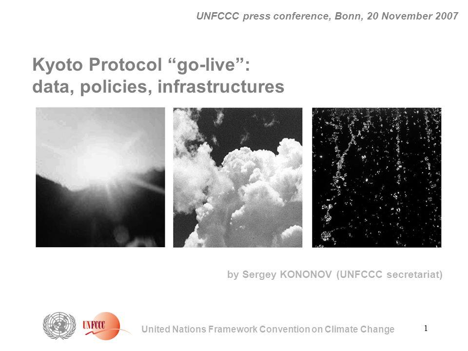 "1 United Nations Framework Convention on Climate Change UNFCCC press conference, Bonn, 20 November 2007 Kyoto Protocol ""go-live"": data, policies, infr"