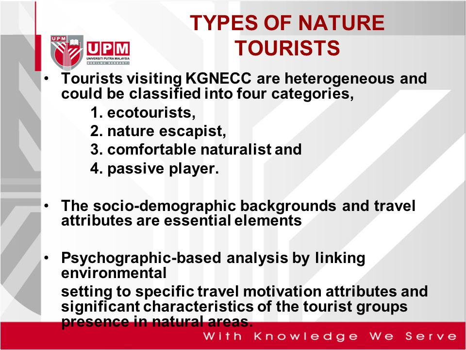 TYPES OF NATURE TOURISTS Tourists visiting KGNECC are heterogeneous and could be classified into four categories, 1.
