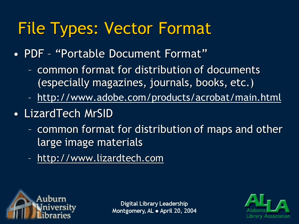 "Digital Library Leadership Montgomery, AL ● April 20, 2004 File Types: Vector Format PDF – ""Portable Document Format""PDF – ""Portable Document Format"""