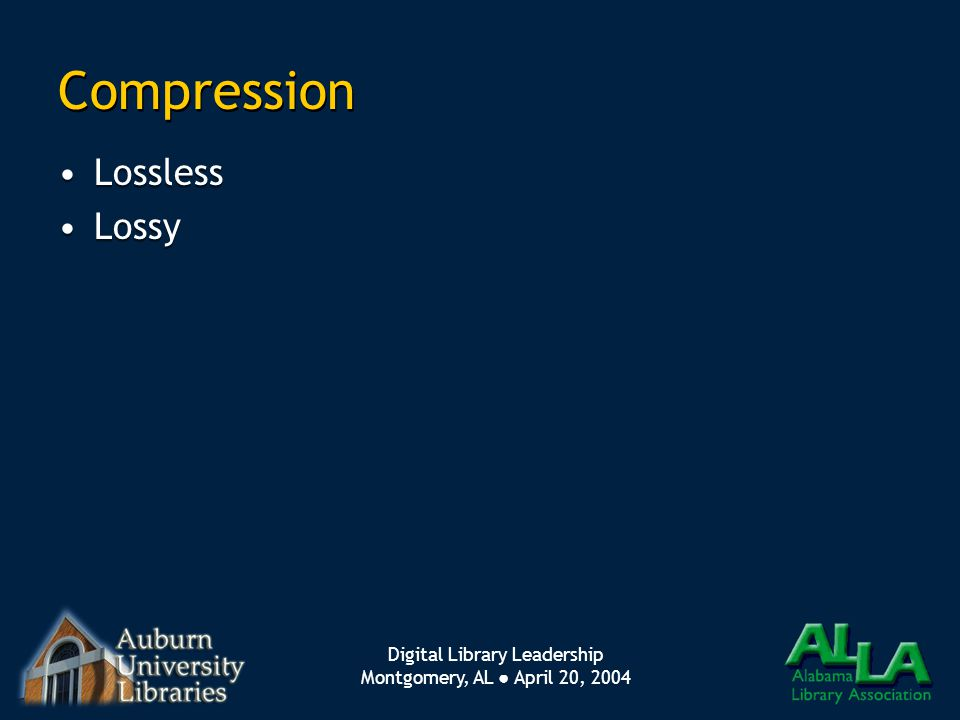 Digital Library Leadership Montgomery, AL ● April 20, 2004 Compression Lossless Lossy Lossless Lossy