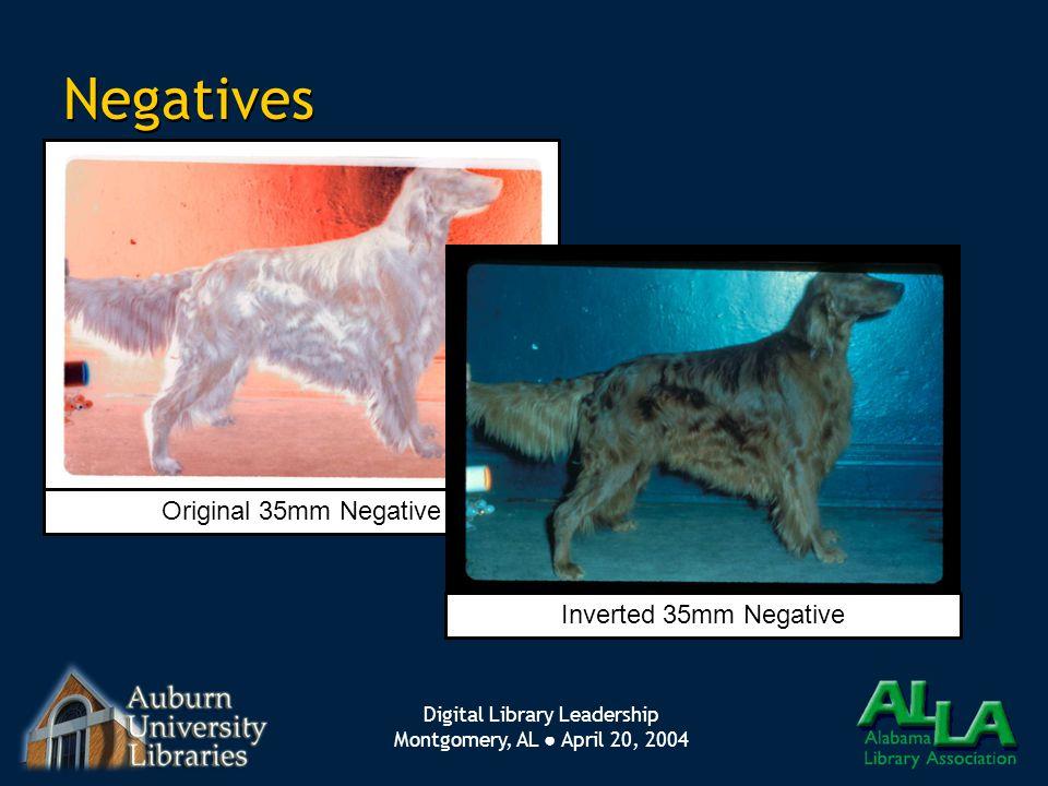 Digital Library Leadership Montgomery, AL ● April 20, 2004 Negatives Original 35mm Negative Inverted 35mm Negative
