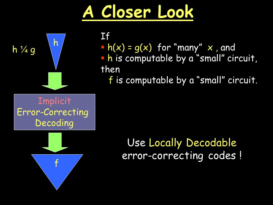 A Closer Look Implicit Error-Correcting Decoding If  h(x) = g(x) for many x, and  h is computable by a small circuit, then f is computable by a small circuit.