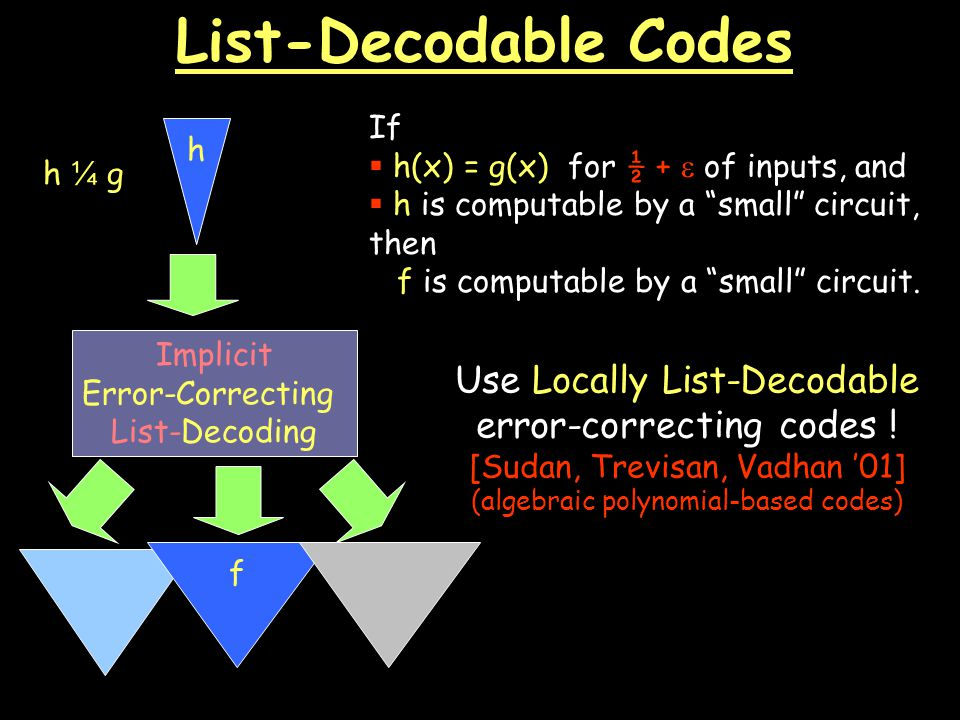 List-Decodable Codes Implicit Error-Correcting List-Decoding If  h(x) = g(x) for ½ +  of inputs, and  h is computable by a small circuit, then f is computable by a small circuit.