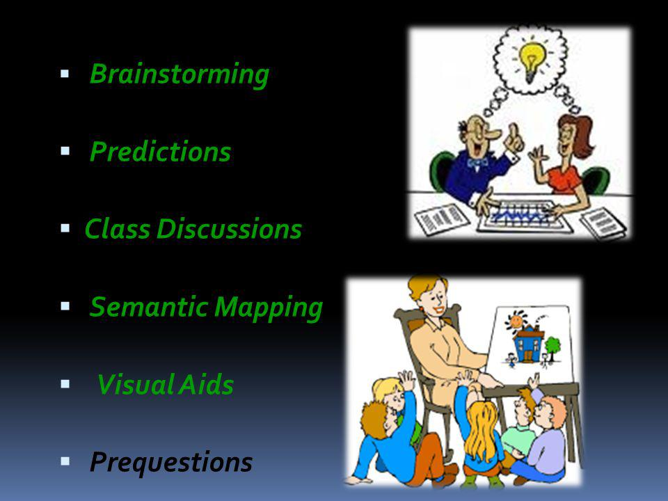  Brainstorming  Predictions  Class Discussions  Semantic Mapping  Visual Aids  Prequestions