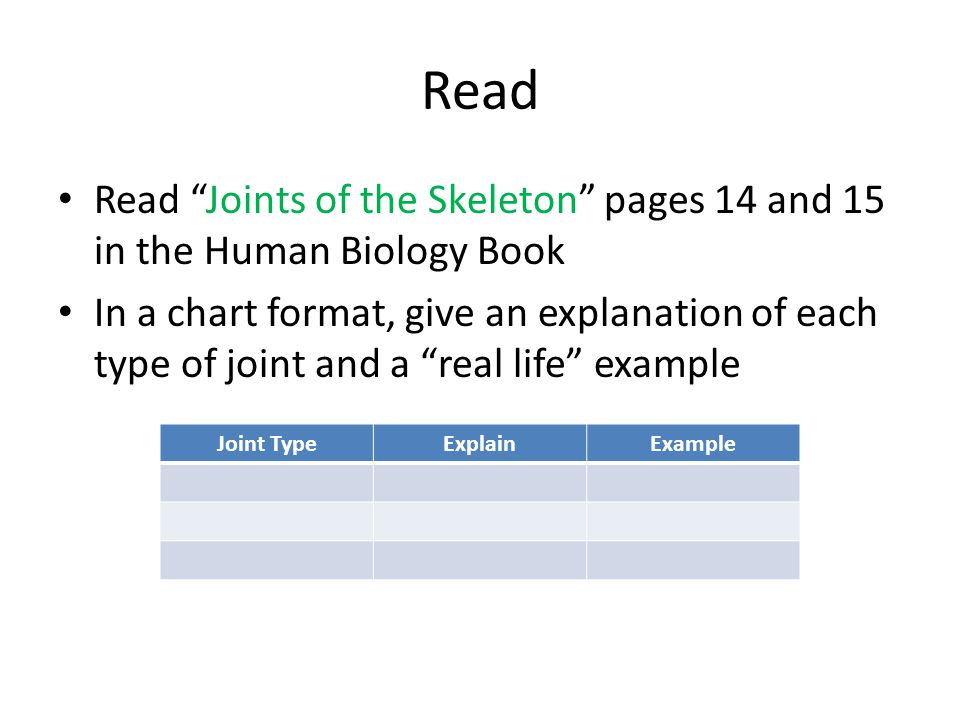 """Read Read """"Joints of the Skeleton"""" pages 14 and 15 in the Human Biology Book In a chart format, give an explanation of each type of joint and a """"real"""