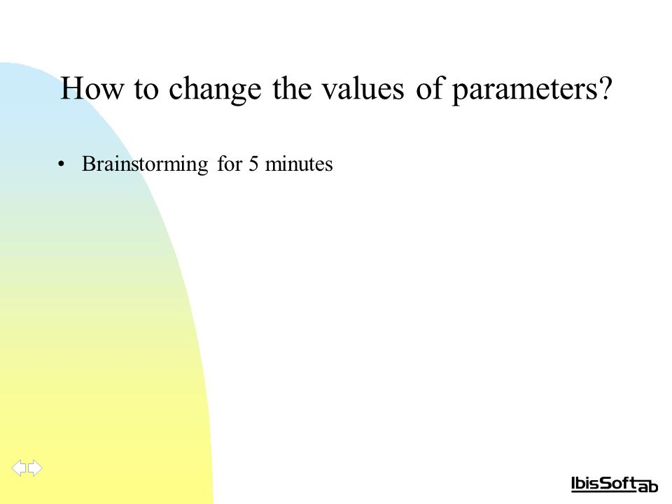 How to change the values of parameters Brainstorming for 5 minutes