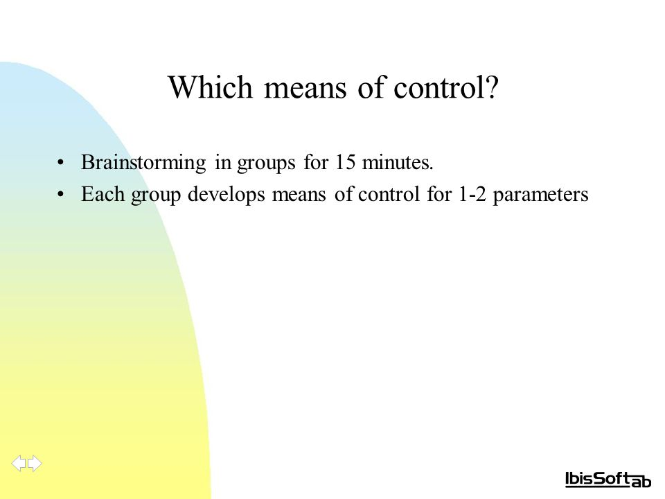 Which means of control. Brainstorming in groups for 15 minutes.