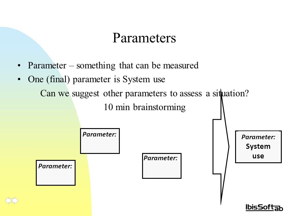 Parameters Parameter – something that can be measured One (final) parameter is System use Can we suggest other parameters to assess a situation? 10 mi
