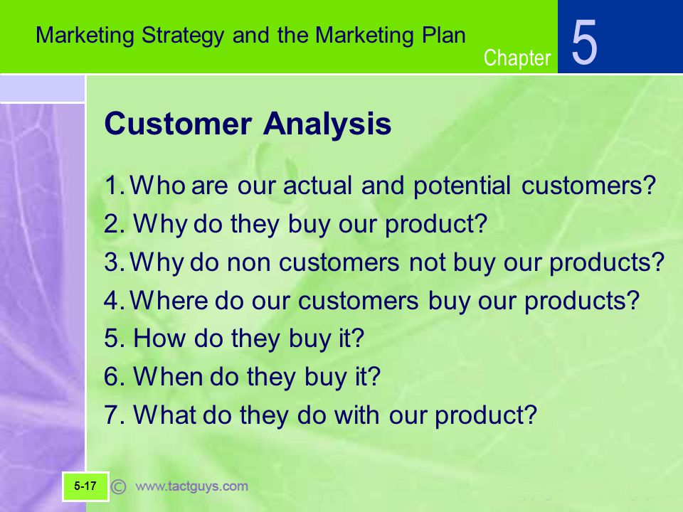 Chapter Customer Analysis 1.Who are our actual and potential customers.