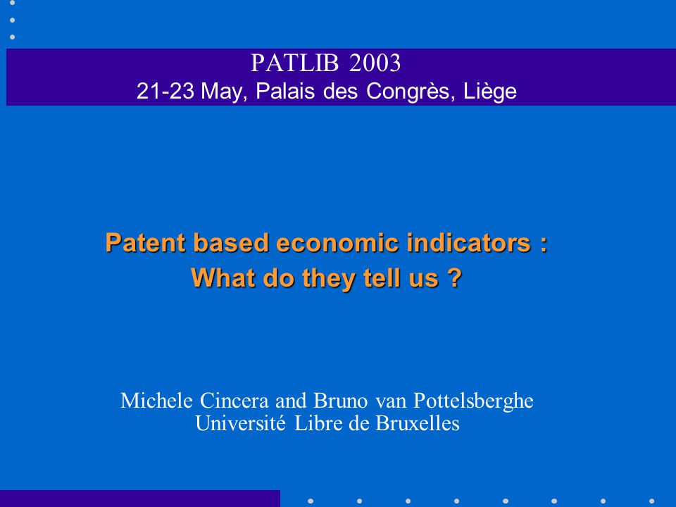 PATENTS AND TECHNOLOGICAL DIFFUSION Example: R&D spillovers