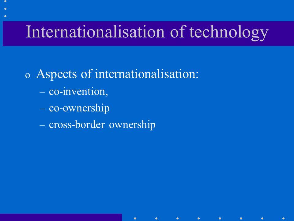 Internationalisation of technology o Aspects of internationalisation: – co-invention, – co-ownership – cross-border ownership