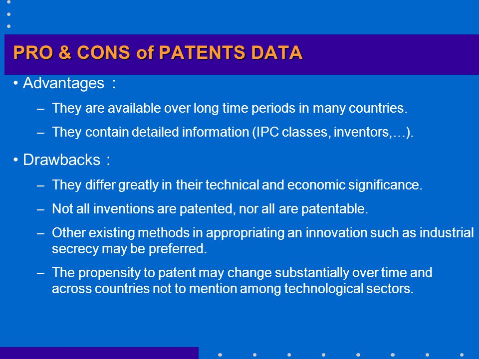 PATENTS AS A MEASURE OF INNOVATIVE ACTIVITIES Index of inventive activity: Source: GRILICHES (1990), p.