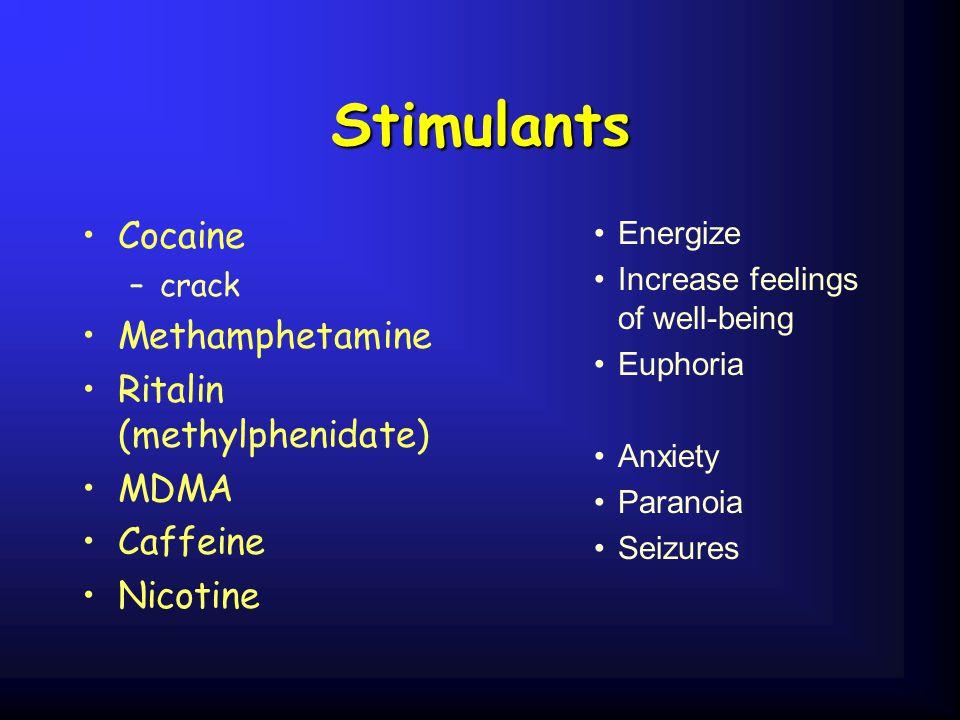 Stimulants Cocaine –crack Methamphetamine Ritalin (methylphenidate) MDMA Caffeine Nicotine Energize Increase feelings of well-being Euphoria Anxiety P
