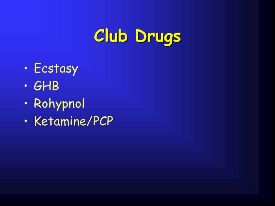 Club Drugs Ecstasy GHB Rohypnol Ketamine/PCP