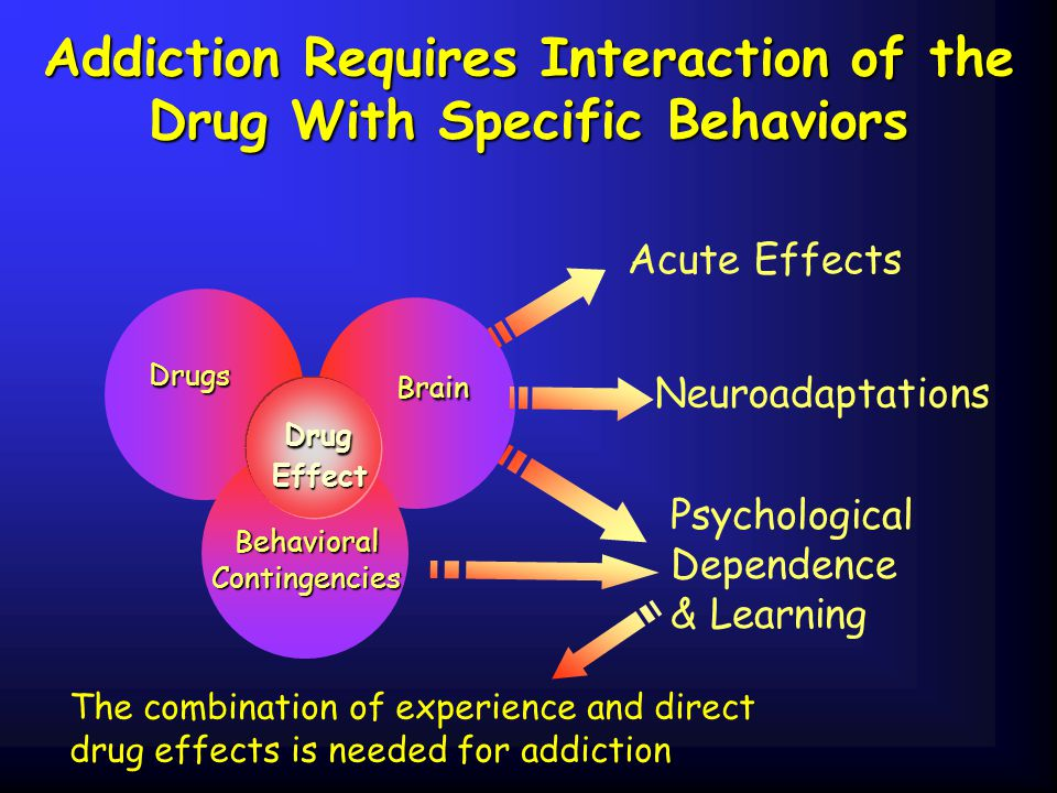 Addiction Requires Interaction of the Drug With Specific Behaviors The combination of experience and direct drug effects is needed for addiction Drugs Brain Brain Behavioral Contingencies Contingencies Acute Effects Neuroadaptations Psychological Dependence & Learning Drug Drug Effect Effect