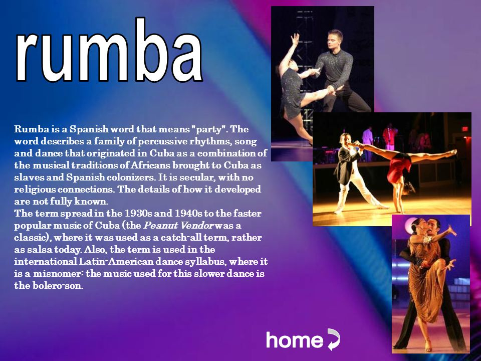 Rumba is a Spanish word that means party .