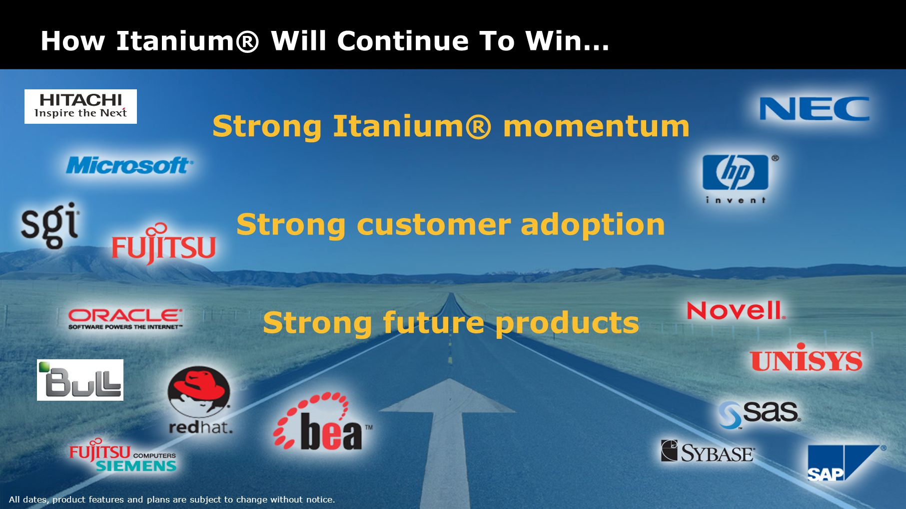 How Itanium® Will Continue To Win… All dates, product features and plans are subject to change without notice.