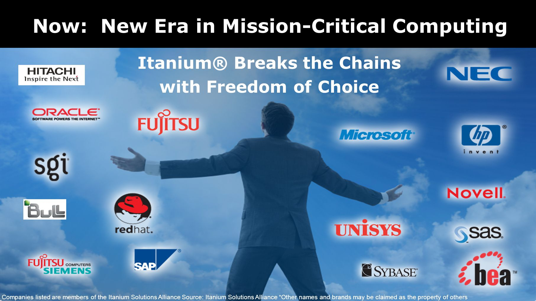Now: New Era in Mission-Critical Computing Itanium® Breaks the Chains with Freedom of Choice Companies listed are members of the Itanium Solutions Alliance Source: Itanium Solutions Alliance *Other names and brands may be claimed as the property of others