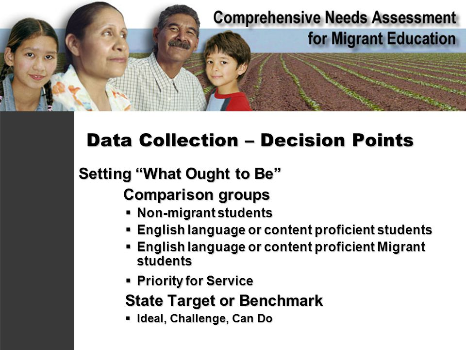 Data Collection – Decision Points Setting What Ought to Be Comparison groups Comparison groups  Non-migrant students  English language or content proficient students  English language or content proficient Migrant students  Priority for Service State Target or Benchmark  Ideal, Challenge, Can Do
