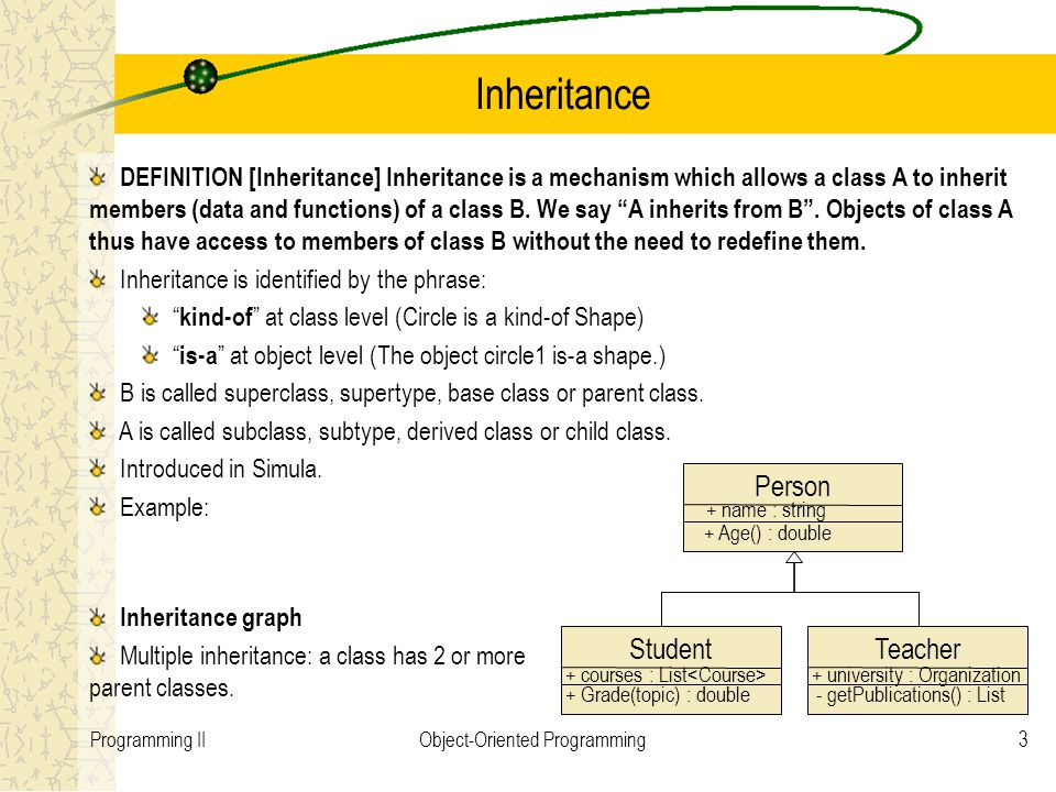 3Programming IIObject-Oriented Programming Inheritance DEFINITION [Inheritance] Inheritance is a mechanism which allows a class A to inherit members (data and functions) of a class B.