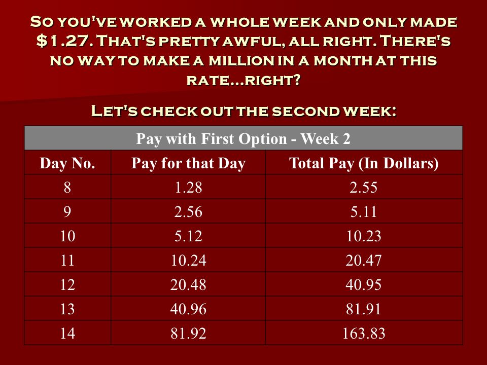 So you ve worked a whole week and only made $1.27.
