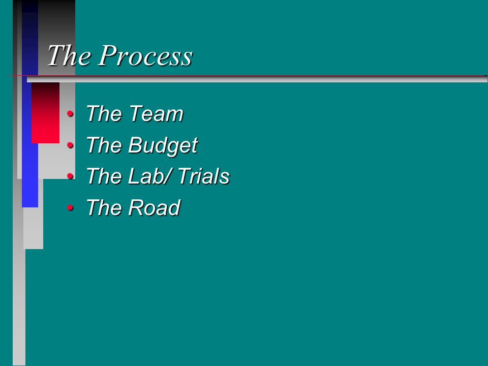 The Process The TeamThe Team The BudgetThe Budget The Lab/ TrialsThe Lab/ Trials The RoadThe Road