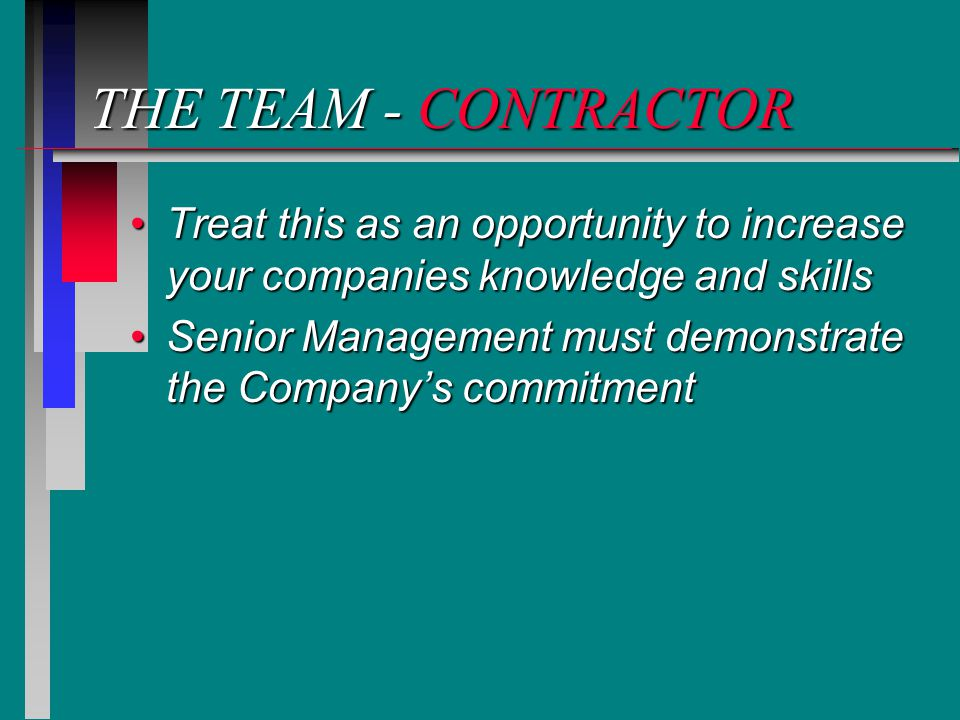 THE TEAM - CONTRACTOR Treat this as an opportunity to increase your companies knowledge and skillsTreat this as an opportunity to increase your companies knowledge and skills Senior Management must demonstrate the Company's commitmentSenior Management must demonstrate the Company's commitment