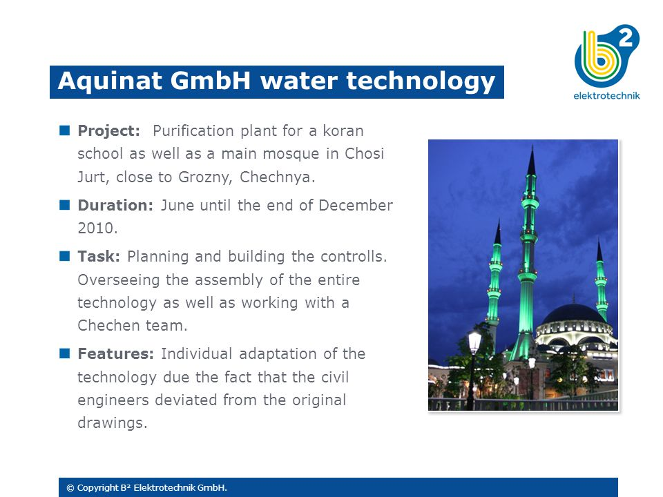 Project: Purification plant for a koran school as well as a main mosque in Chosi Jurt, close to Grozny, Chechnya.