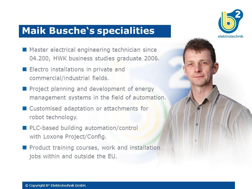 Master electrical engineering technician since 04.200, HWK business studies graduate 2006.