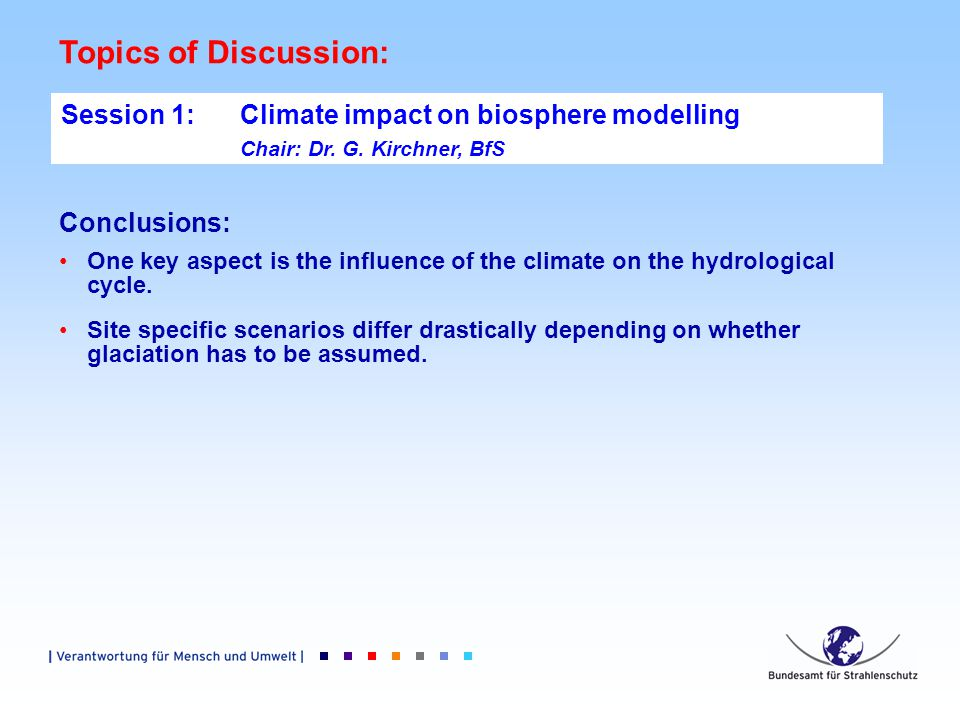 Topics of Discussion: Session 1: Climate impact on biosphere modelling Chair: Dr.