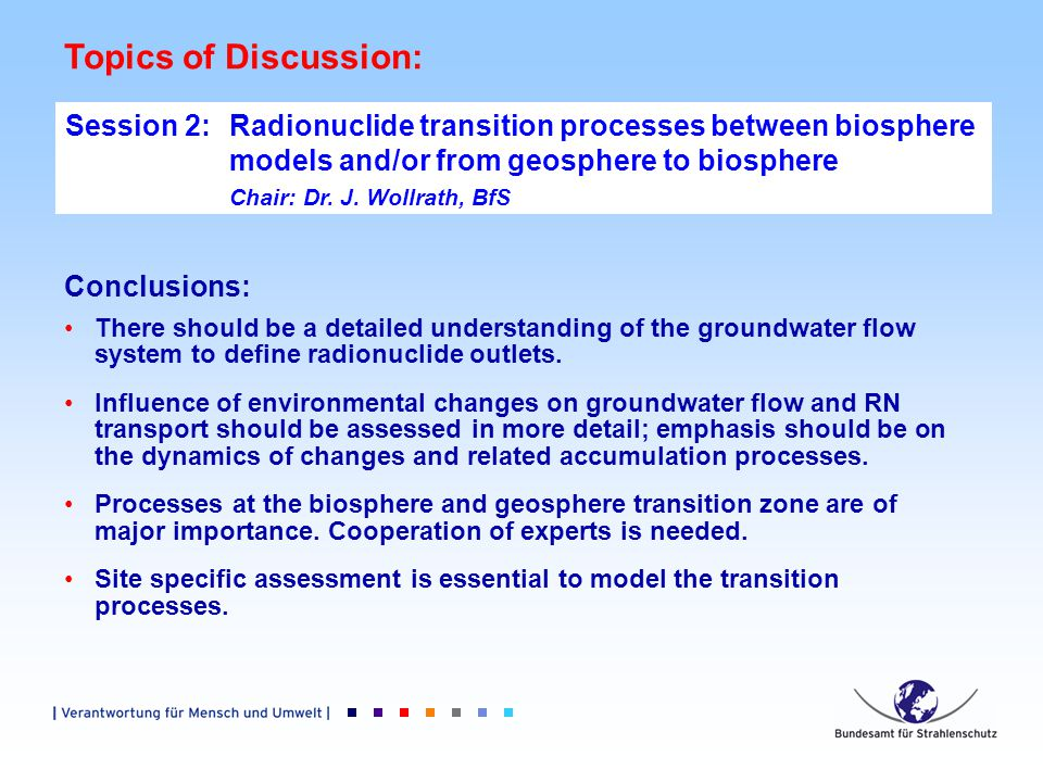 Topics of Discussion: Session 2: Radionuclide transition processes between biosphere models and/or from geosphere to biosphere Chair: Dr.
