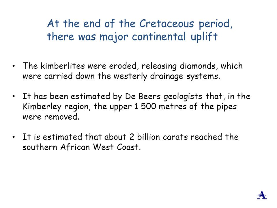 The kimberlites were eroded, releasing diamonds, which were carried down the westerly drainage systems. It has been estimated by De Beers geologists t