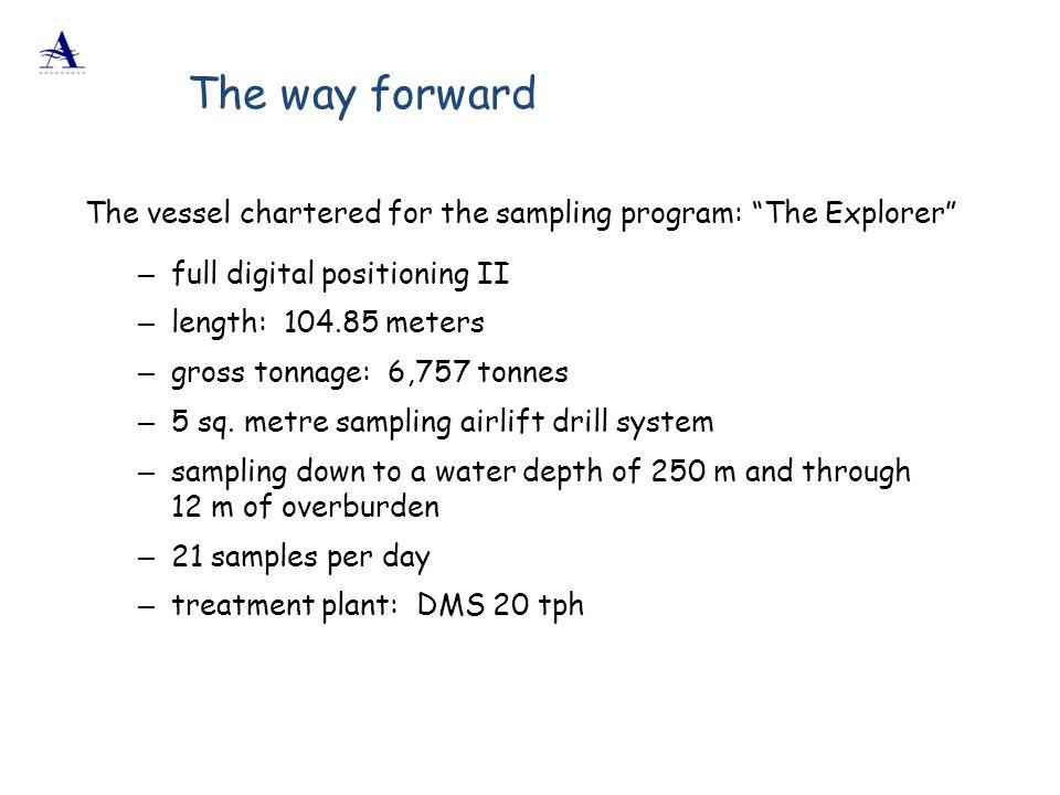 "The vessel chartered for the sampling program: ""The Explorer"" – full digital positioning II – length: 104.85 meters – gross tonnage: 6,757 tonnes – 5"