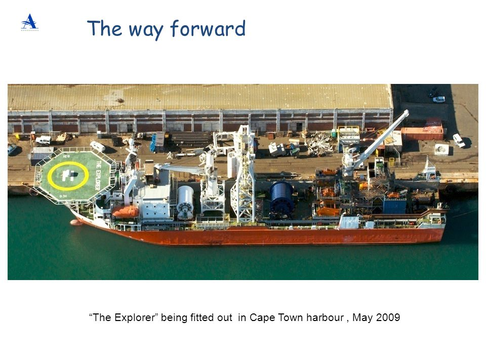 """""""The Explorer"""" being fitted out in Cape Town harbour, May 2009 The way forward"""