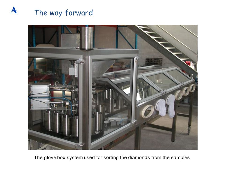 The way forward The glove box system used for sorting the diamonds from the samples.