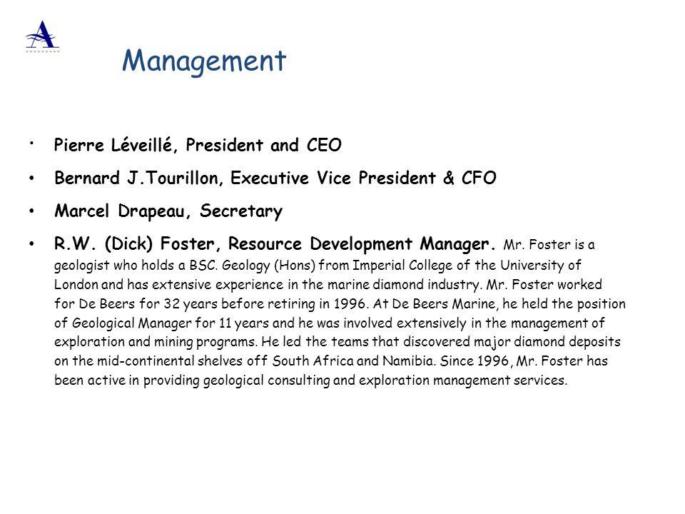  Pierre Léveillé, President and CEO Bernard J.Tourillon, Executive Vice President & CFO Marcel Drapeau, Secretary R.W. (Dick) Foster, Resource Develo