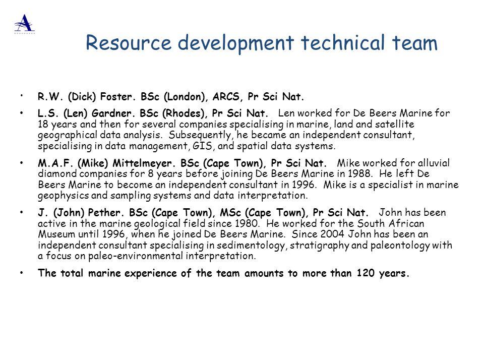  R.W. (Dick) Foster. BSc (London), ARCS, Pr Sci Nat. L.S. (Len) Gardner. BSc (Rhodes), Pr Sci Nat. Len worked for De Beers Marine for 18 years and th