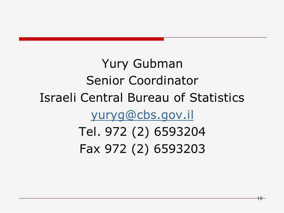 19 Yury Gubman Senior Coordinator Israeli Central Bureau of Statistics yuryg@cbs.gov.il Tel.