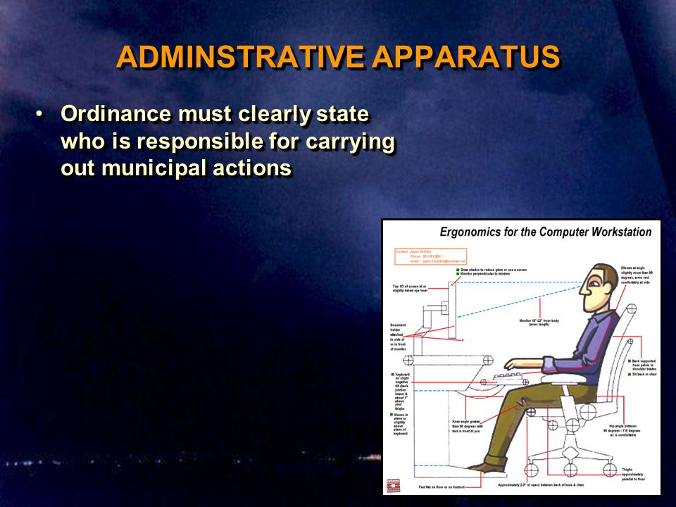 ADMINSTRATIVE APPARATUS Ordinance must clearly state who is responsible for carrying out municipal actionsOrdinance must clearly state who is responsible for carrying out municipal actions