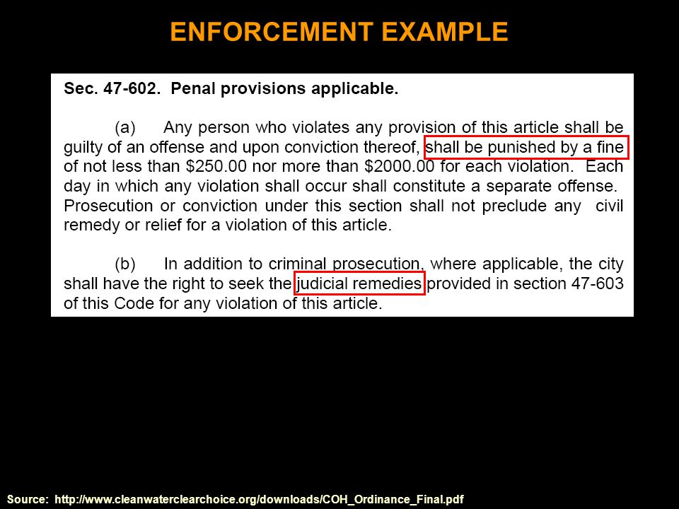 Source: http://www.cleanwaterclearchoice.org/downloads/COH_Ordinance_Final.pdf ENFORCEMENT EXAMPLE