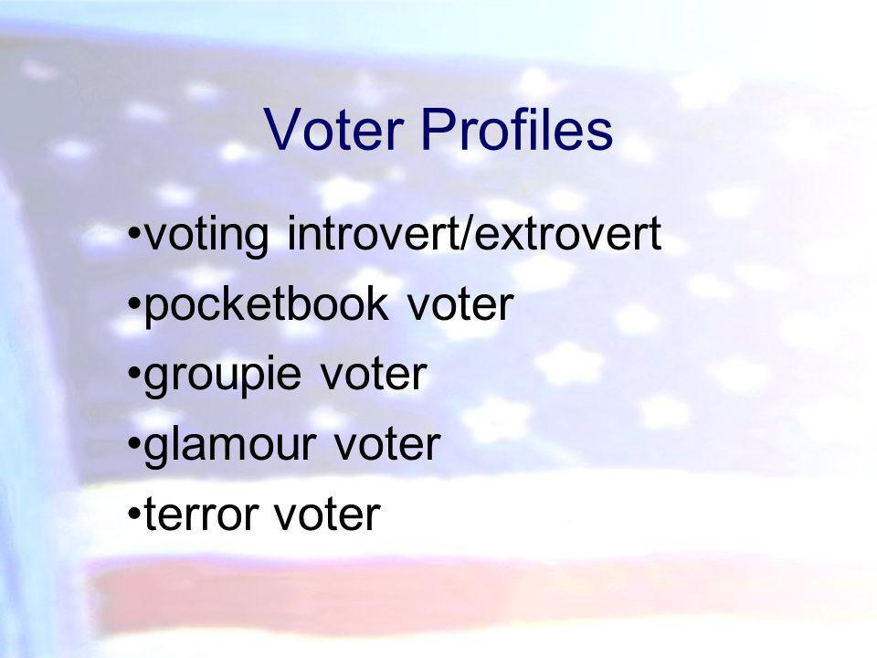 Voter Profiles voting introvert/extrovert pocketbook voter groupie voter glamour voter terror voter